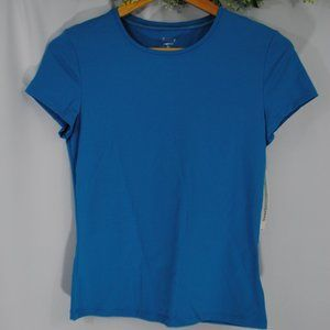 Blue Fitted Lycra/Spandex Shirt